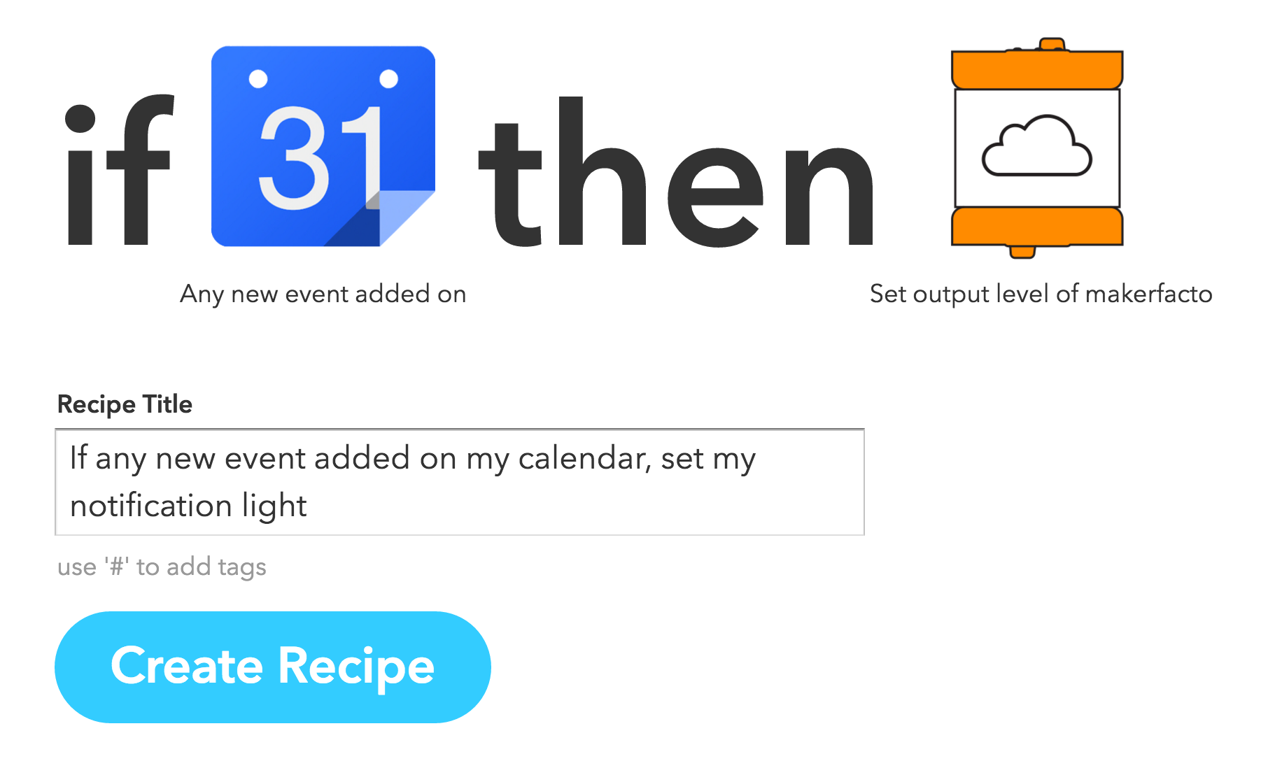 IFTTT Calendar LittleBits recipe