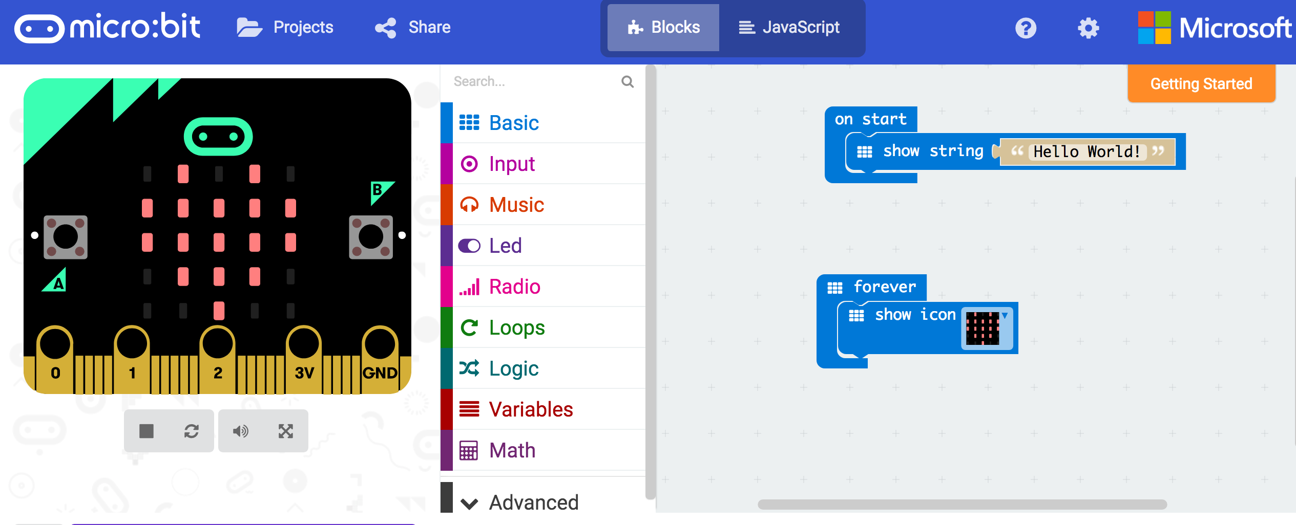 Microbit main screen